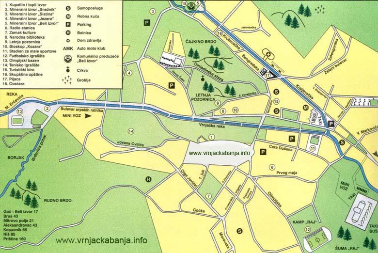 vrnjacka banja mapa ulica Plan grada   Vrnjačka Banja vrnjacka banja mapa ulica